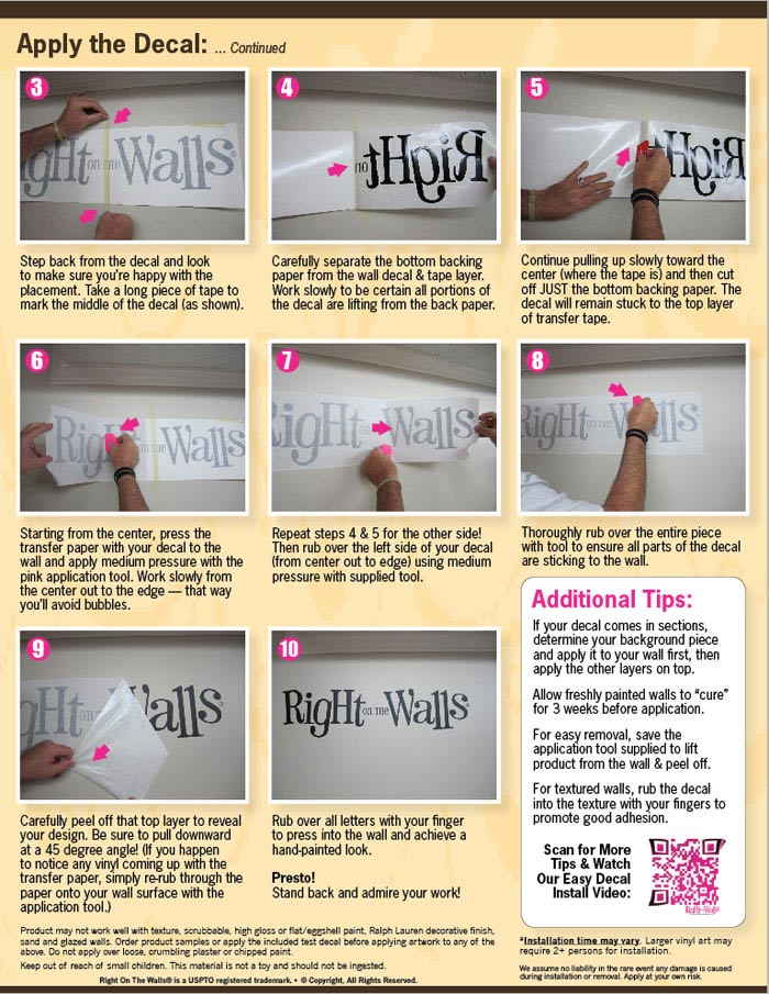 applying wall decal instructions