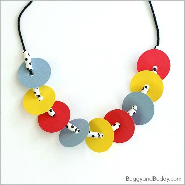 instructions for kids on how to make necklace with straw